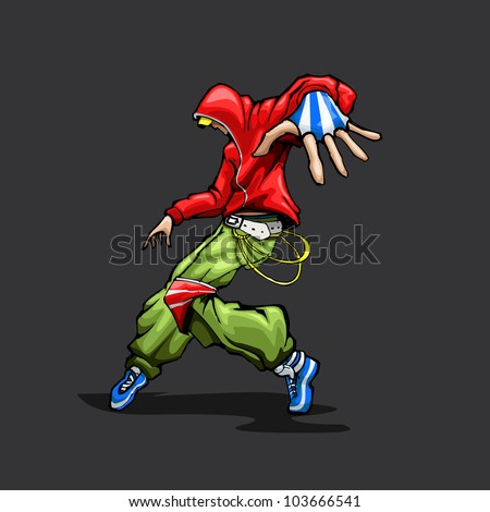 illustration of trendy guy in dancing pose - stock vector