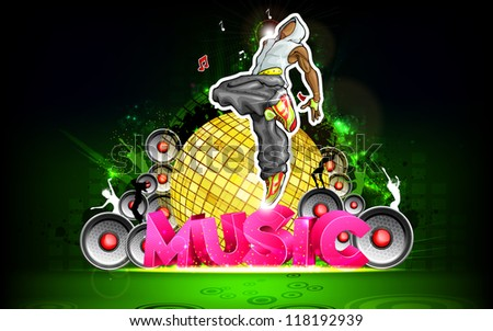 illustration of trendy guy in dancing pose on music background - stock vector