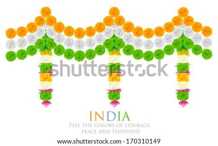 illustration of tri color flower arrangement for India festival decoration - stock vector