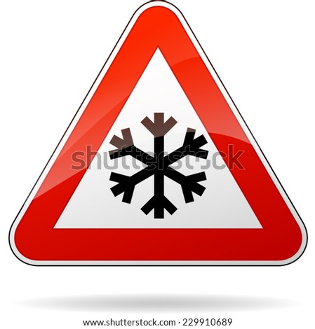 illustration of triangle road sign for cold - stock vector