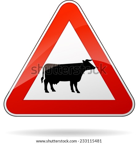 illustration of triangular warning sign for cows - stock vector