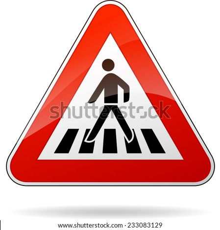 illustration of triangular warning sign for pedestrian crossing - stock vector