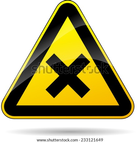illustration of triangular warning sign with cross - stock vector