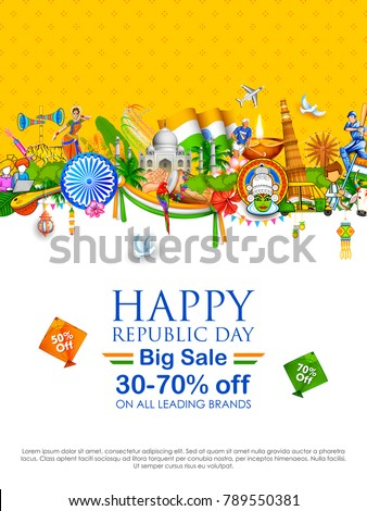 illustration of tricolor banner with Indian flag for 26th January Happy Republic Day of India Sale Promotion advertisement background