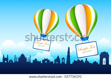 illustration of tricolor hot air balloon on famous monument of India - stock vector
