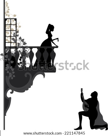 Illustration of troubadour, who singing  love song for young girl on the balcony - stock vector