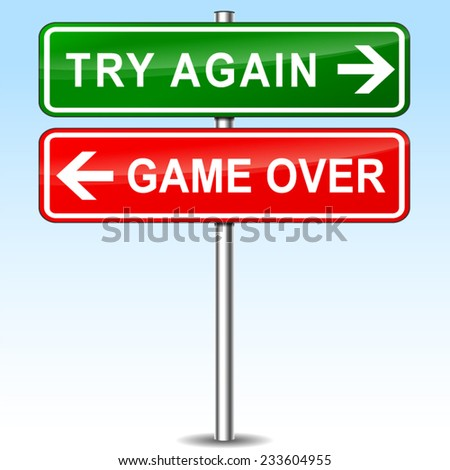 illustration of try again and game over directional signs - stock vector