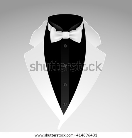Illustration of tuxedo with bow tie on grey background. Vector.