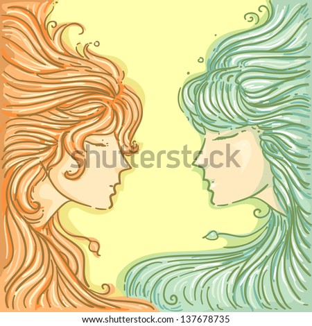 Illustration of Twins for Gemini Design - stock vector