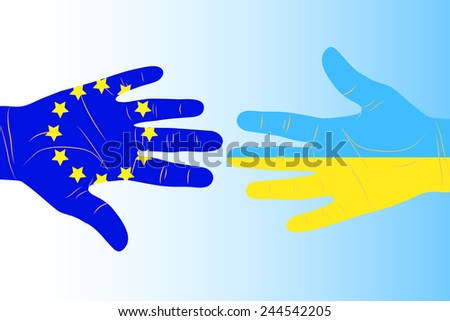 Illustration of two arms-flags Ukraine and European Union - stock vector