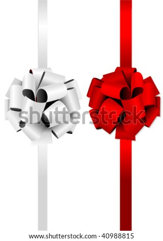 Illustration of two beautiful glossy bows - stock vector