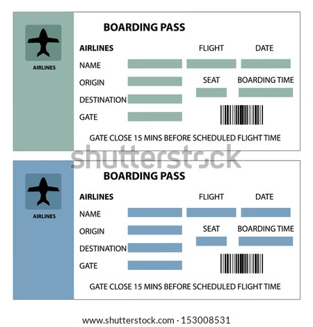 Illustration of two boarding passes on white background - stock vector