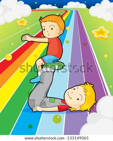 Illustration of two boys playing at the colorful road