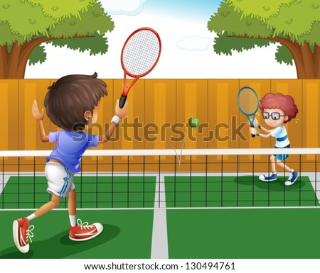 Illustration of two boys playing tennis inside the fence - stock vector