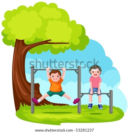illustration of two boys playing with park bar - stock vector