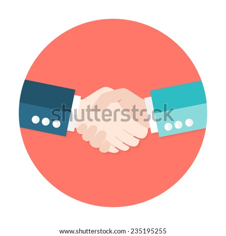 Illustration of Two Businessmen Shaking Hands Flat Circle Icon - stock vector