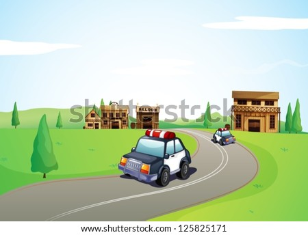 Illustration of two cars on the road and a saloon shop - stock vector