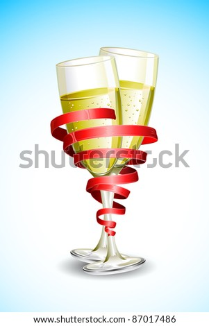 illustration of two champagne glass wrapped with with ribbon - stock vector