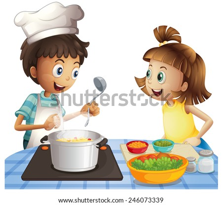 Illustration of two children cooking - stock vector