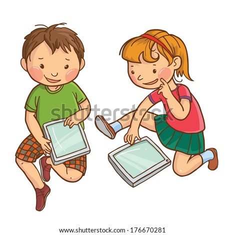 Illustration of two children playing with electronic device tablet. Children illustration for School books, magazines, advertising and more. Separate Objects. VECTOR. - stock vector