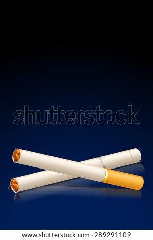 illustration of two cigarettes in the blue darkness background - stock vector