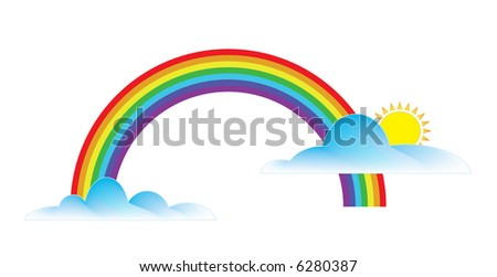 Illustration of two clouds (one with sun) and a rainbow