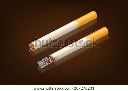 illustration of two conditions of cigarettes on dark brown background with reflect - stock vector