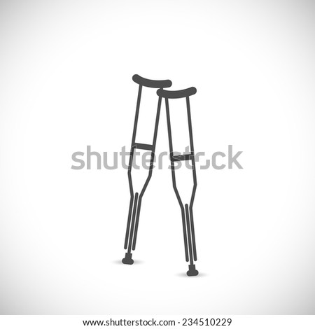 Illustration of two crutches isolated on a white background. - stock vector