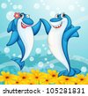 illustration of two dancing whale fishes in water - stock photo