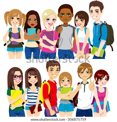 Illustration of two different group of diverse ethnic students together - stock vector