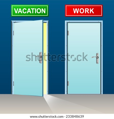 illustration of two doors for vacation and work