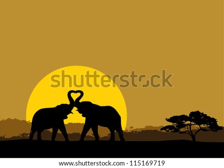 Illustration of two elephants in love silhouette at sunrise - stock vector