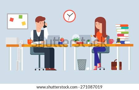 Illustration of two employees working in the office  - stock vector