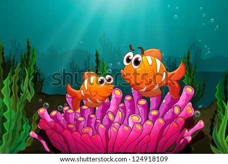 Illustration of two fishes above a pink coral found underwater - stock vector