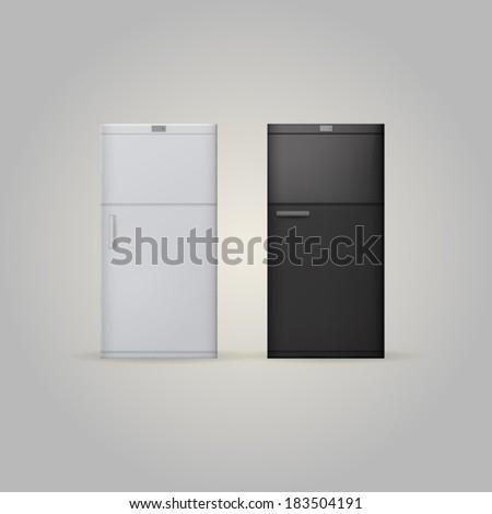 Illustration of two fridges - stock vector