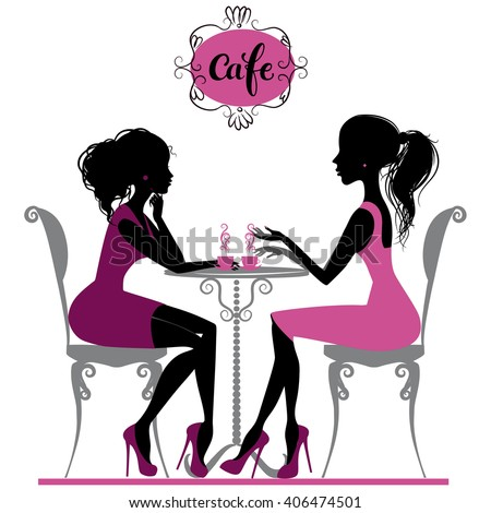 Illustration of two girls talking in cafe - stock vector
