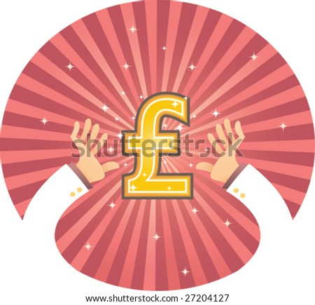 Illustration of two hand reaching for Pound - stock vector