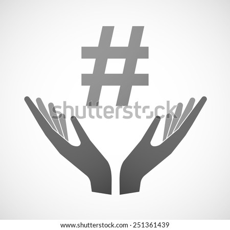 Illustration of two hands offering a hash tag - stock vector