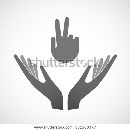 Illustration of two hands offering a victory hand - stock vector