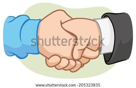 Illustration of two hands shaking hands with handshake.  - stock vector