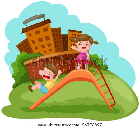 illustration of two kids playing on the slide - stock vector