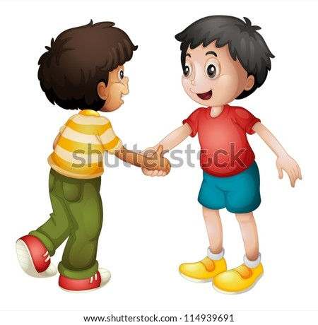 illustration of two kids shaking hands on white background - stock vector