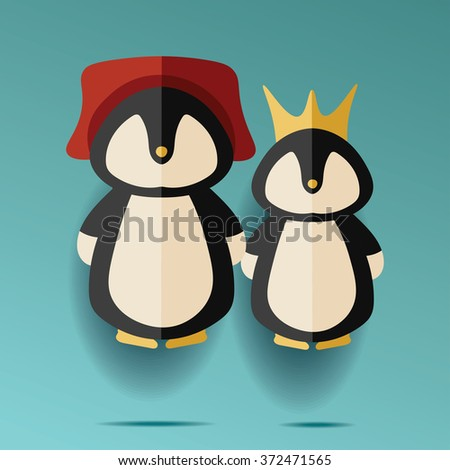 illustration of two male and female penguins in hat and crown - stock vector