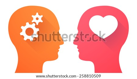 Illustration of two men heads with a heart and gears - stock vector