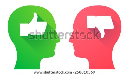 Illustration of two men heads with thumb hands - stock vector