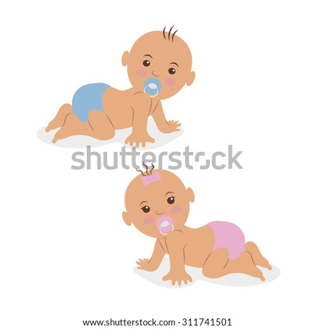 Illustration of two newborn babies crawling on all fours in diapers. - stock vector