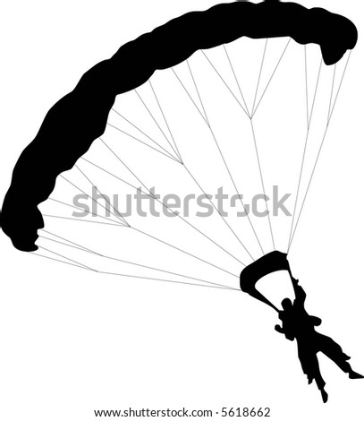 illustration of two Parachuter with to silhouettes - stock vector