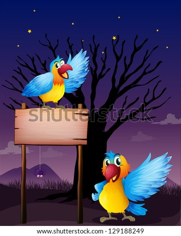 Illustration of two parrots near an empty board