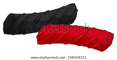Illustration of two pieces of licorice - stock vector