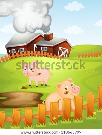 illustration of two pigs in the nature - stock vector